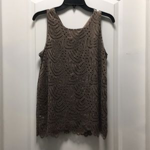 WORTHINGTON taupe brown lace shell, NWT